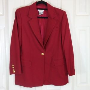 Talbots Red 100% Wool Blazer